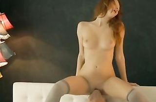 Beauiful youthful spunky chesty redhed poked