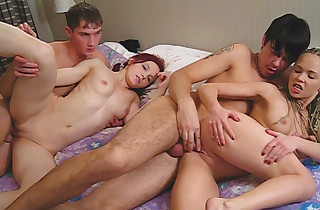 4 students play strip poker and poke