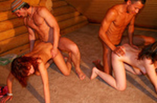 Nude students have a load in a rented cottage